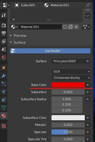 「Base Color」を赤に設定